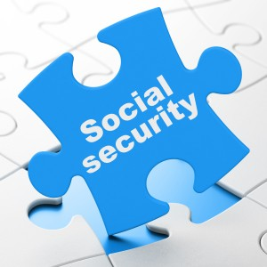 Security concept: Social Security on puzzle background