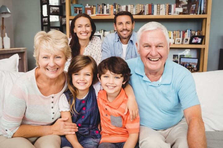 happy family with grandparents